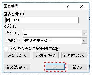 ダイアログボックスの図表番号を確認しOKボタンをクリック
