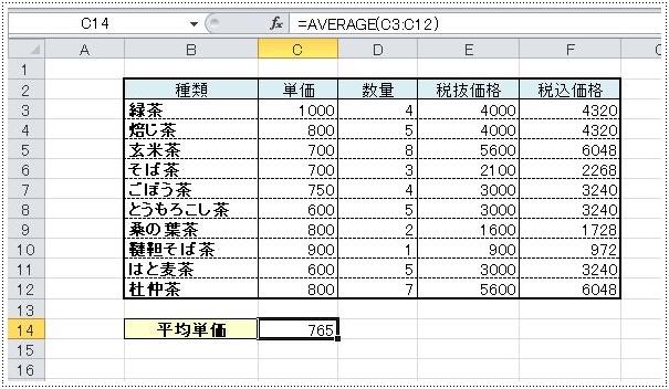 単価と名付けたデータ範囲はC3:C12のまま