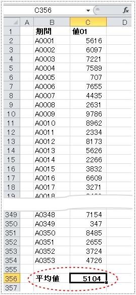 ワークシートの下部に計算結果が表示されている例